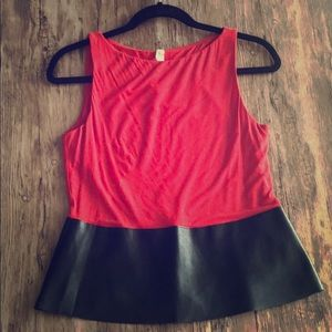 Bailey 44 | Traction Black leather/ Red Peplum Top